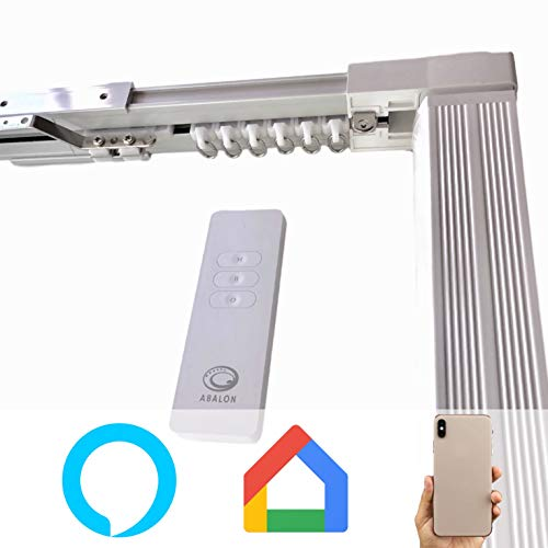 ABALON Vorhangschiene, Motorisiert, 1 bis 2 m, WiFi-Motor, kompatibel mit Alexa Google Home und App, Smart Home, mit Fernbedienung, Aluminium, elektrische Schiene
