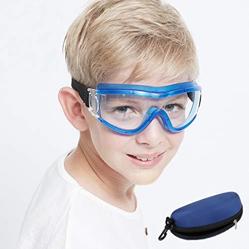 Gafas de seguridad para niños, gafas de seguridad protectoras para evitar gotas, antisalpicaduras, lentes resistentes a balísticas, antivaho, ajuste ajustable para niños de 5 a 12 años (azul)
