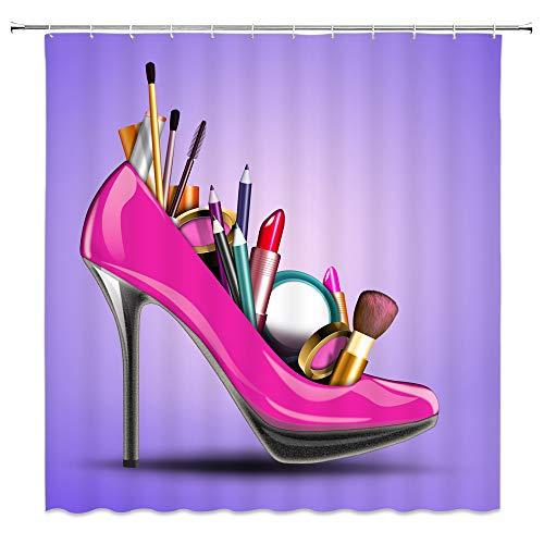 qianliansheji Girls Make Up Lipsticks Sunglasses Perfume Pattern Unique Shower Curtain by, Feminine Bathroom Decor Curtain for Bathtub Shower Stall, 70x70 Inch Fabric Shower Curtain Waterproof