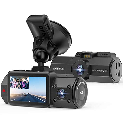 Vantrue N2s Dual Dash Cam Front and Cabin 1440P+1440P Dash Camera 4K GPS Supercapacitor Dashcam for Cars, IR Night Vision, WDR, Parking Mode, Loop Recording, Motion Detection, Support 256GB Max