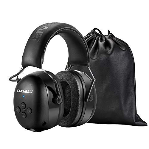 PROHEAR 037 Bluetooth Casque Anti Bruit avec Technologie BT 5.0,Protection Auditive Chargeable avec Sac Transport,SNR 30dB pour Tonte/Construction/Menuiserie/Loisirs-Noir