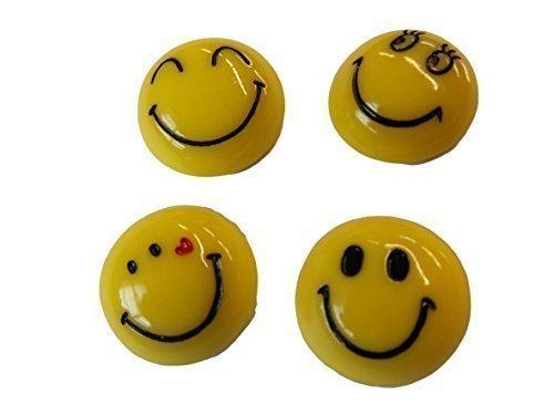 fat-catz-copy-catz - Aimants de frigo style badge smiley métal jaune diamètre 3cm X4