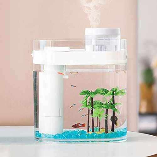 XYZMDJ Geometría Transparente Tanque Tanque Aquapónicos Ecosistema Pequeño Agua Jardín Ecológico Fish Tank Aquarium con humidificador