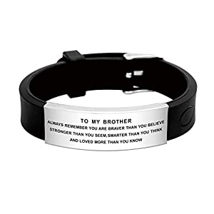 Great way to encourage your brother, inspirational message engraved with discerning taste add elegance and style, let your brother know just how much you love him. Celebrate the loving bond between Sister and Brother with this adorable bracelet. This...