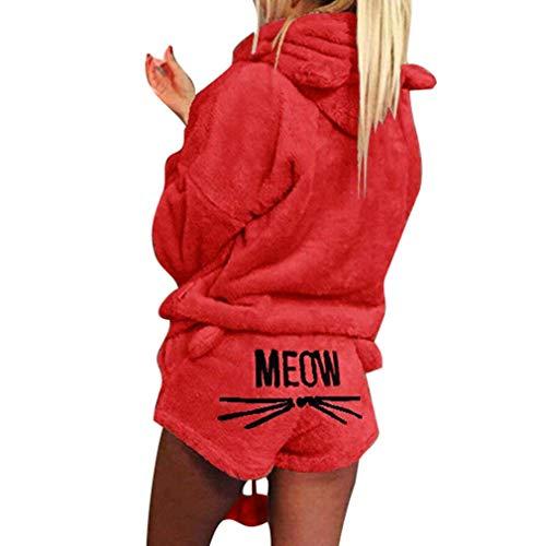 Minetom Mujer Otoño Invierno Pijama de Dos Piezas Conjunto Suave Cálida Lana de Coral Traje de Terciopelo Lindo Gato Kitty Pantalones Cortos y Sudaderas con Capucha Rojo ES 40