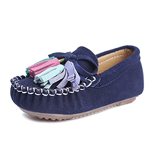 KEESKY Toddler Girl Shoes Size 5.5 Navy Blue Babygirl Leather Loafers