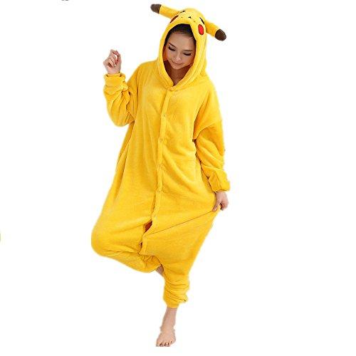Blau Gelb Umbreon Mondlicht Pokemon Charmander Pikachu onesiee Kigurumi Pyjama Karneval Kostüm Maskenkostüm Kapuzenpulli Schlafanzüge Pikachu, M(Height 160cm-170cm)