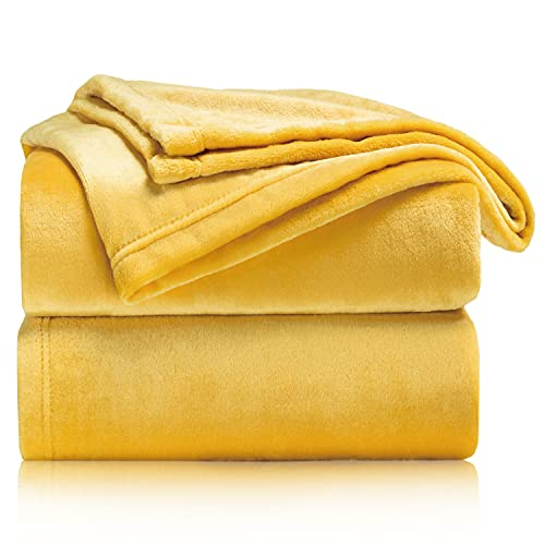 BEDSURE Fleece Blanket Sofa Throw - Versatile Blanket Fluffy Soft Throw for Bed and Couch Twin / Double, Mustard, 150x200cm