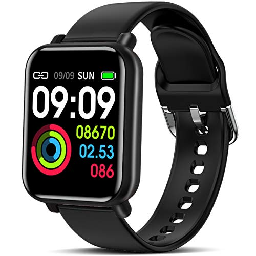 Man Woman Smart Watch Wearable Running Activity Fitness Tracker with 3 Sport Modes All-Day Heart Rate Blood Pressure Sleep Monitor IP67 Waterproof Color Display Sport Wristband Android iOS (Black)