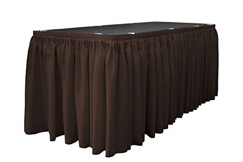 LA Linen Polyester Poplin Pleated Table Skirt with 15 Large Clips, 21-Feet by 29-Inch, Brown