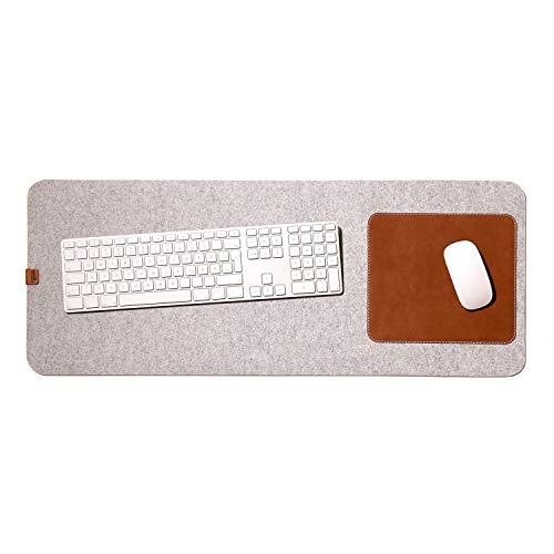 Pack & Smooch Große Schreibtischunterlage Mouse Pad Matte -MOIRA- 74x30cm aus Merino Filz und Natur-Leder für Linkshänder und Rechtshänder - Hellgrau