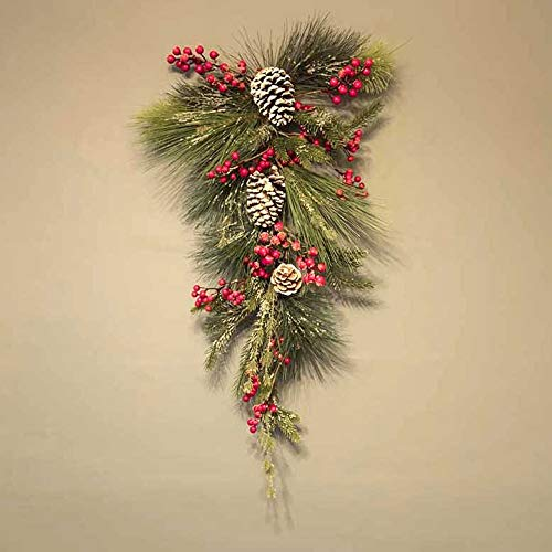 AIRWAVE Decorated Christmas Teardrop Swag Wreath Garland 70cm (Frosted Pinecones and Berries)
