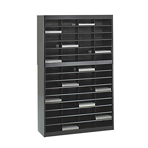 Safco Products 9231BLR E-Z Stor Literature Organizer, 60 Letter Size Compartments, Black