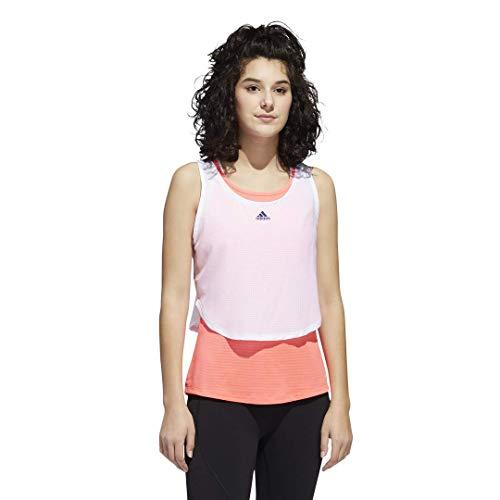 adidas Damen Tech Crop Hemd, Weiß/Signalrosa, m