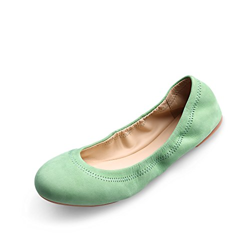Women's Chaste Ballet Flat Lambskin Loafers Casual Ladies Shoes Leather Green 9