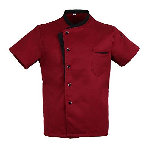Bonarty Chaqueta de Chef de Verano de Manga Corta para Hombre, Uniforme de Cocina, Ropa de Trabajo de Chef 4XL