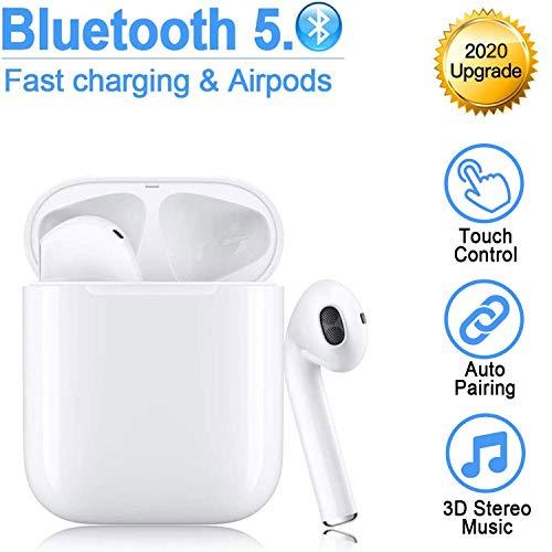 Cuffie Bluetooth 5.0,cuffie wireless,cuffie stereo 3D con eliminazione del rumore,cuffie sportive impermeabili e anti-sudore IPX5,per Cuffie Apple Airpods Android/iPhone/Samsung/Huawei