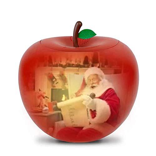 Edinber Luz de proyección de Navidad, luz de proyección de forma de manzana, proyector de atmósfera con altavoz integrado para decoración de Navidad en interiores y exteriores