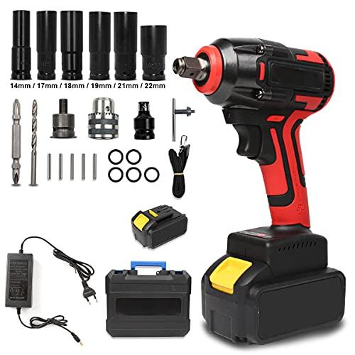 Atornillador de impacto con batería, 520 Nm, 18 V, accionamiento cuadrado de 1/2 pulgadas (1 batería).