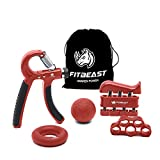 FitBeast Hand Grip Strengthener Workout Kit (5 Pack) Forearm Grip Adjustable Resistance Hand Gripper, Finger Exerciser, Finger Stretcher, Grip Ring & Stress Relief Grip Ball for Athletes (Red)