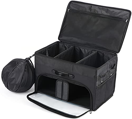 KSMYZX-Adjustable Car Trunk Organizer and Storage with Cover Waterproof Muti-Compartments Golf Trunk with Shoe Bag (black)