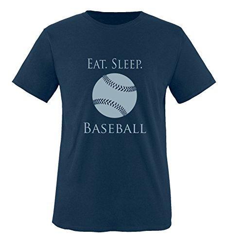 Comedy Shirts - EAT. Sleep. Baseball - Ball - Jungen T-Shirt - Navy/Eisblau Gr. 152-164