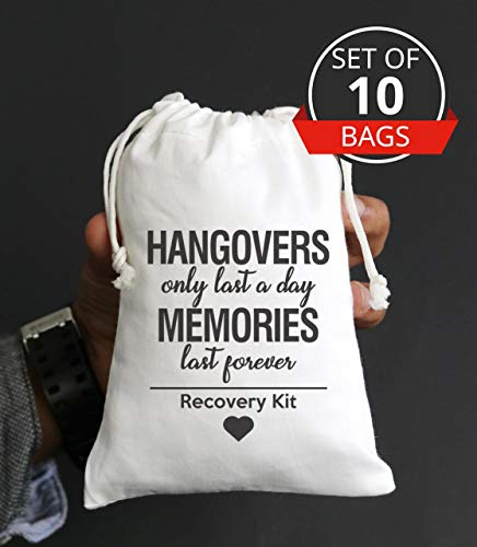 Hangovers Only Last a Day Memories are forever, hangover bags, amenity bags, Bachelorette Party Hangover Kit Bags Cotton Drawstring Wedding Party Welcome Favor Bags (10pcs)