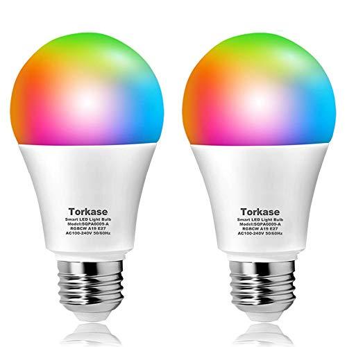 Bombilla LED Inteligente WiFi, Torkase E27 RGB 9W(Equivalente 80W) Lámpara, Funciona con Amazon Alexa, Echo, Google Home, IFTTT, Paquete de 2