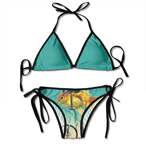 Goldfish con Casco Divertido Conjunto de Bikini de Carreras de Bicicletas Traje...