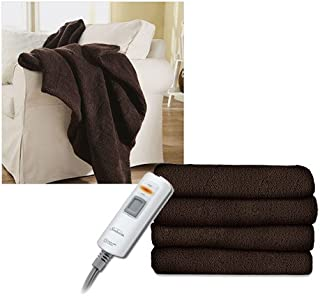 Sunbeam LoftTec Ultra-Soft Heated Electric Throw Blanket - Walnut Brown