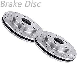 VIOJI 2pcs Front Left Right Drilled Slotted Vented Brake Rotor Disc 5 Lugs Fit Toyota Camry 1992-1999 Sedan 2000-2001 Sedan 14in. 1992-1996 Wagon 4-door L4
