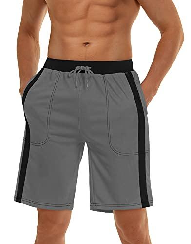 MAGNIVIT Men's Mesh Basketball Gym & Running Shorts Elastic Drawstring Waistband & Pockets Grey