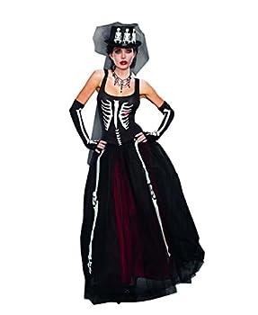 Dreamgirl Women s Ms Bones Zombie Bride Costume Black Small
