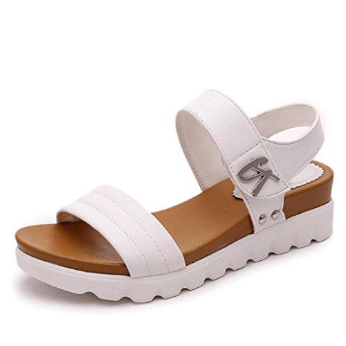 Sandalias De Mujer, K-youth Moda Sandalias Mujer Verano 2018 Tacon Alto Fondo grueso Sandalias Romanas Mujer Elegante Sandalias Plataformas Mujer Fiesta Playa Zapatos Mujer Verano Baratos (38, Blanco)