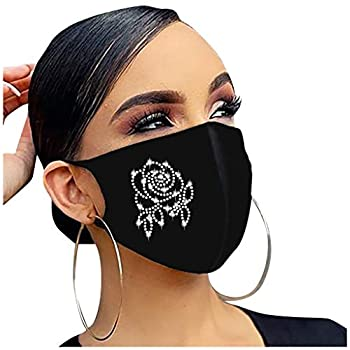 【US Store】 Fasion Printed Face_Masks for Women Washable with 5Ply Face Bandanas Cartoon Print Breathable Balaclava for Party