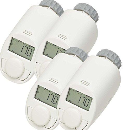 4er Set Elektronik Heizkörper Thermostat mit Boost-Funktion - Verbessertes leises Kompaktgetriebe