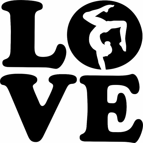 Love - Gymnastics Kids Girls Sports Quote Vinyl Wall Sticker Decal For Home Decor - 10 Inches x 10 Inches Color: Black