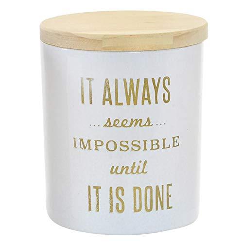 Vela Perfumada Pequeña, en Vaso de Cristal Blanco, con Frase Motivadora en Dorado y Tapa de Madera. Diseño Moderno - Hogar y Más - B