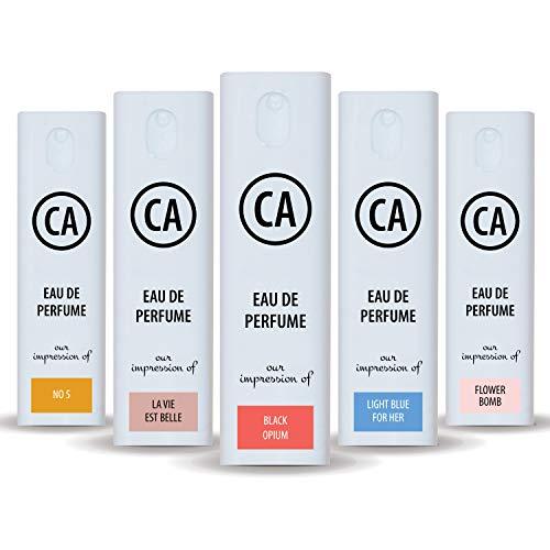 CA Perfume Conjunto feminino de impressão (Opium preto + La Vie Est Belle + DG azul claro + flor + Nº 5) amostra de perfume tamanho viagem (10 ml) x5