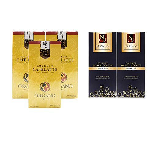 3 Organo Gold Ganoderma Gourmet Café Latte(20 sachets/box) + 2 Nugano Black Coffee with 100% Certified Organic Gourmet(30 sachets/box) +