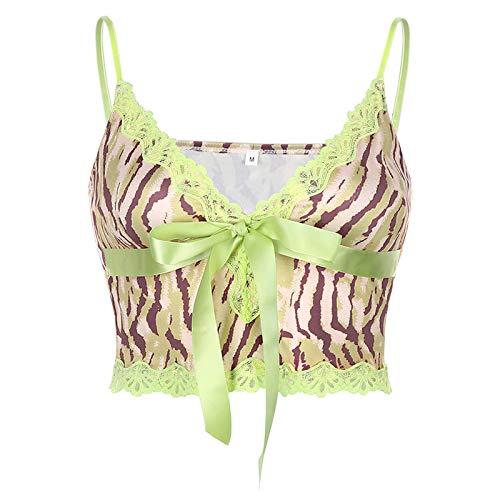 Blusas Sexy Lace Edge Patchwork Leopard Print Lace-Up Crop Top Mujeres 2020 Verano Caliente Profundo V Cuello Sexy Y2K Camis Tops Vintage