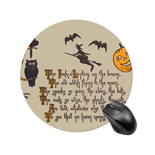Rundes Mauspad Hexe Fledermaus Eule Schwarz Katze Jack O 'Laterne Mousepad mit rutschfester Gummi Basis Mausmatte für Laptop, Computer 8 Zoll