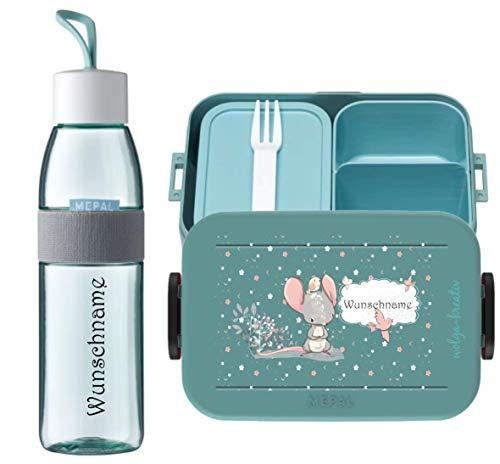 wolga-kreativ Brotdose Obsteinsatz Bento Box und Trinkflasche auslaufsicher BPA frei für Kinder Mepal Junge Mädchen süßer Maus personalisiert mit Namen Lunchbox Brotbox mit Fächern