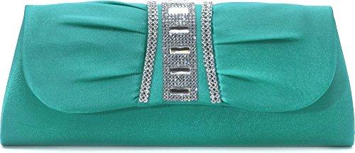 VINCENT PEREZ Clutch, Umhängetasche, Unterarmtasche aus Satin mit Raffung und hochwertige Straßstein Aplikation mit abnehmbarere Kette (120 cm), Farbe:Grün (Smaragd)