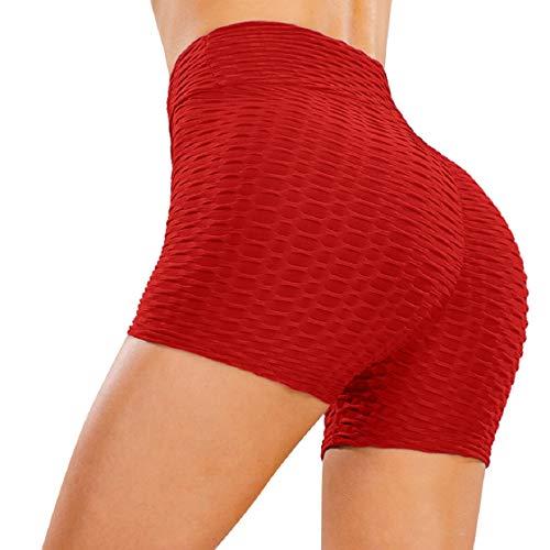 CMTOP Cortos Leggings Mujer Mallas Yoga Alta Cintura Gimnasio Correr Pantalones Cortos Verano Leggings por Encima de la Rodilla Push Up Pantalones Deporte de Entrenamiento (Rojo, S)