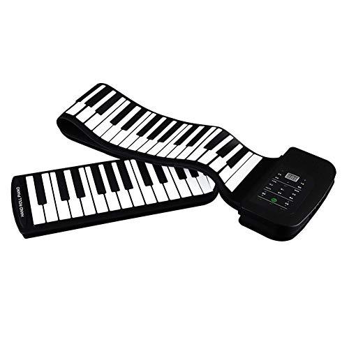 WASDQE Roll-up-Klaviertastatur 88 Tasten, tragbare Kindertastatur, 140 Töne, 128 Rhythmen, 30 Demo-Songs, Silikon + ABS-Material Kinder