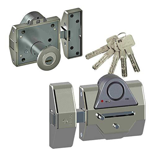 Lince Pack Cerrojo con Alarma mas bombillo Alta Seguridad 35x30 niquel, 0