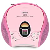 Lenco SCD-24 Portable Stereo Boombox with CD Player & FM Radio – Pink…