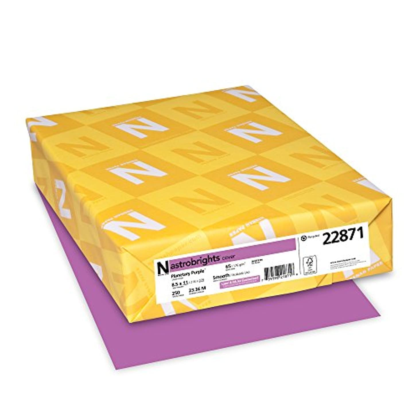 Wausau Astrobrights Cardstock, 65 lb, 8.5 x 11 Inches, Planetary Purple, 250 Sheets (22871)