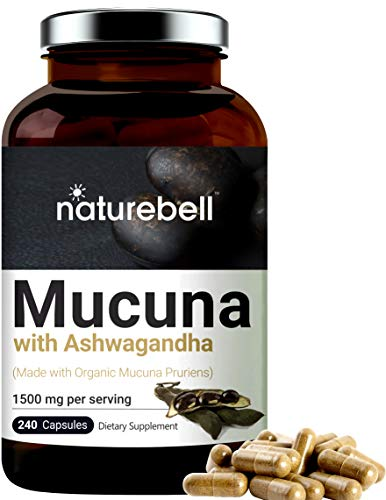 Mucuna Pruriens Capsules, 1500mg Per Serving, Made with Organic Mucuna and Ashwagandha, 240 Capsules, 30% Natural L-Dopa for Positive Mood, Relaxation and Restoration, No GMOs